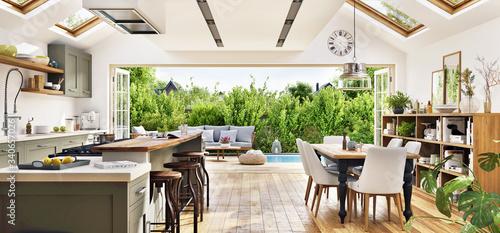 Fototapeta Modern kitchen overlooking patio in a new luxury house obraz