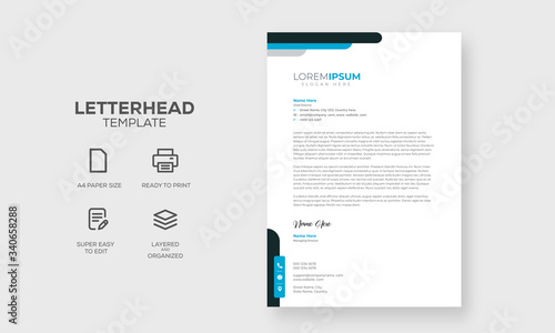 Fototapeta Clean and modern letterhead design template obraz