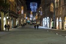 Corso Vannucci Main Street In Perugia City Centre At Night Time