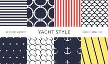 Set Of Nautical Seamless Patte...
