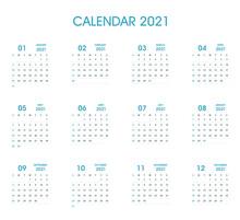 2021 Simple Calendar Flat Design. Blue Color