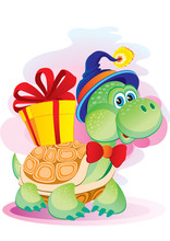 Cute Turtle Character In A Blu...