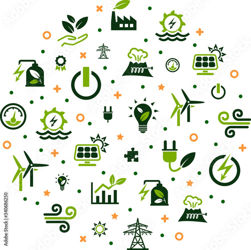 Obraz renewable / alternative energy vector illustration. Concept with icons related to green electricity sources / sustainable electricity – solar, wind, hydroelectric power. - fototapety do salonu
