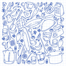 Cooking Class, Menu. Kitchenware, Utencils Food And Kitchen Icons