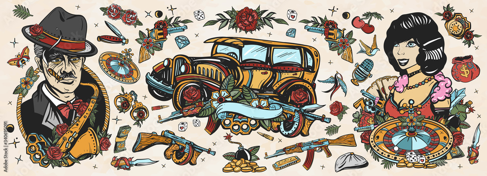 Fototapeta Gangsters Old school tattoo collection. Crime boss plays saxophone, retro car, robbers, bandits weapons, croupier pin up girl, casino, cabaret. Noir criminal movie art. Traditional tattooing style