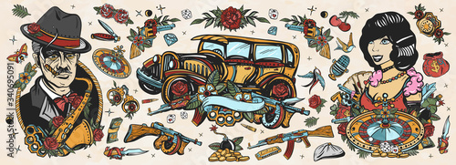Obraz Gangsters Old school tattoo collection. Crime boss plays saxophone, retro car, robbers, bandits weapons, croupier pin up girl, casino, cabaret. Noir criminal movie art. Traditional tattooing style - fototapety do salonu