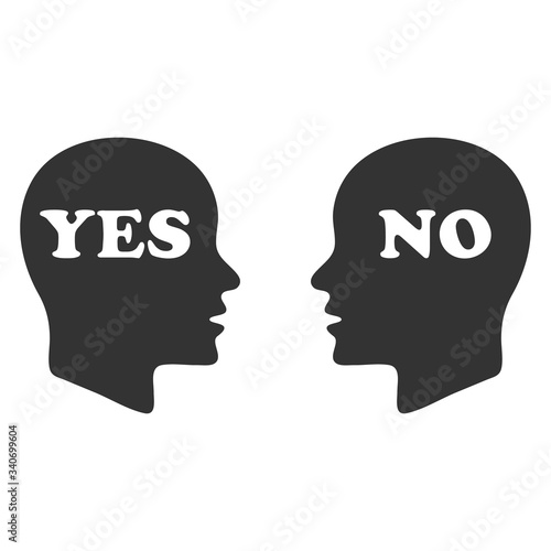 Photo Yes and no speech bubble with human head sign vector