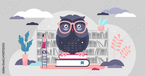 Foto Wise owl vector illustration