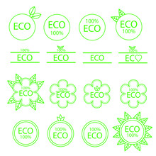 Set Of Thin Line Econ Icons. Eco Friendly Natural Product Symbol. Clean And Safe Product Sign. Vector Illustration.