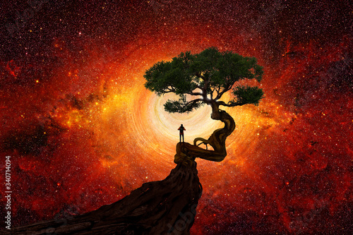 Fototapeta Man under a tree in front of the universe obraz