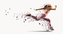 Woman Running. Isolated On White