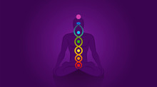 Kundalini - Coiled Snake. Meditating Yoga Man With Chakras On Violet Background, Symbol For Spiritual Awakening, Healing Power And Balance, Celestial Harmony And Relaxation.