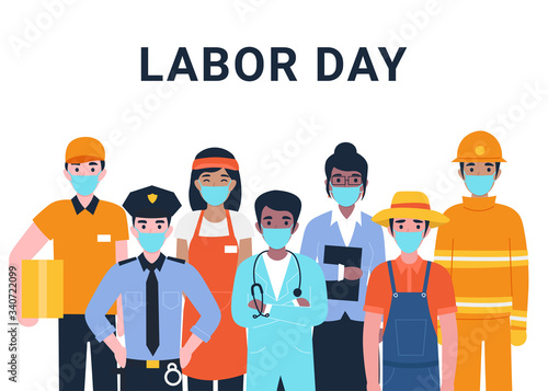 Fototapeta International Labor Day. Set people characters actual important professions covid 19. Coronavirus pandemic. Flat vector cartoon modern illustration concept for banner, poster, layout, background. obraz