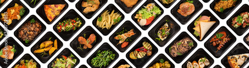 Fototapeta Collection of black plastic take away boxes with healthy food. Set of containers with everyday meals - meat, vegetables and law fat snacks on white background obraz