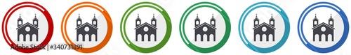 Foto Religion, church icon set, flat design vector illustration in 6 colors options f