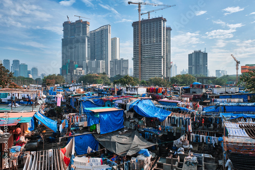 Photo View of Dhobi Ghat (Mahalaxmi Dhobi Ghat) is world largest open air laundromat (lavoir) in Mumbai, India with laundry drying on ropes