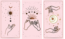 Tarot Card Gold With Chen And Pink. Magical Occult Tarot Card Set. Engraving Vector Illustration. Cards Isolated On White Background For Poster, Sticker, Template.