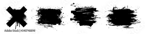 Black paint stencil with splashes. Ink brush strokes, art composition. Dirty artistic design elements, boxes, frames for text. Inked splatter dirt stain brushes with drops blots. Vector set