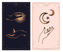 Feminine Hand Logo Collection With Different Symbol Like Space Star Planet, Floral Herb, Moon And Sun, Heart Love, Eye, Fire, Drop