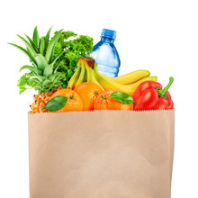 Grocery Bag With Fruits And Ve...