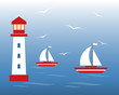 Lighthouse, sailing boats, seagulls on the ocean. Vector illustration of a nautical theme concept.