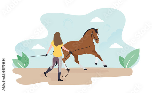 Fototapeta Work with a horse on the cord. Lounging. Girl trains a horse obraz