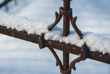 Wrought Iron Fence In Snow