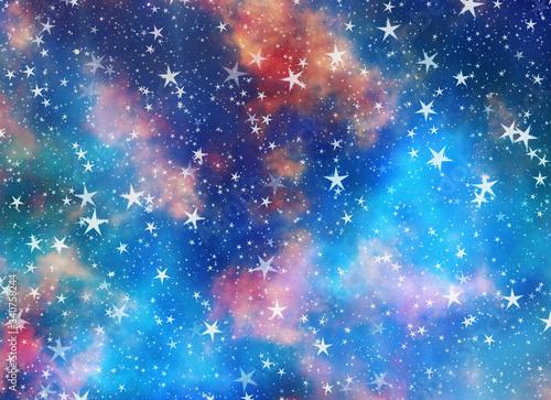 Canvastavla dreamy backgrounds of many flying stars on beauty sky