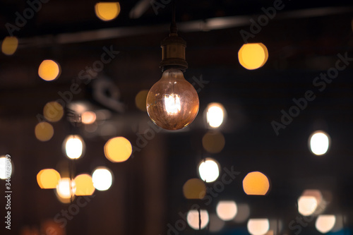 Photo light bulb in dark room