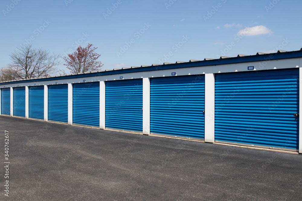 Fototapeta Self storage and mini storage garage units.