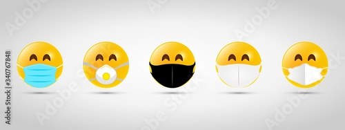 Set emoji with black and white mouth mask. Yellow emoji icon on grey template. Vector illustration