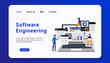 software engineering landing page template with group human business concept flat design. vector illustration