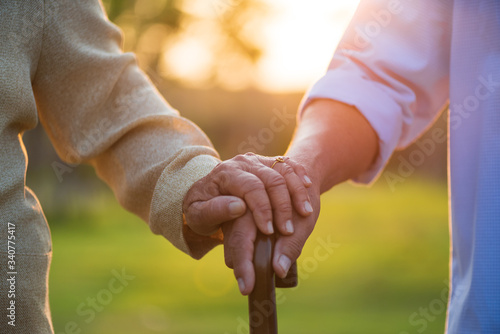 Photo A happy senior couple asian old man and woman holding wooden walking stick hold hand each other and standing in park during sunrise or sunset