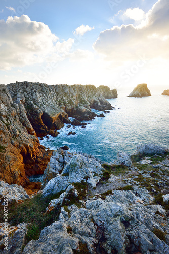 Aerial view of the rocky shore of Pointe de Pen-Hir, cliffs close-up Canvas Print