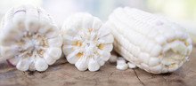 White Corn On Wood Table From ...