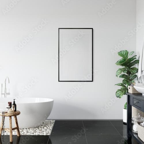 Frame mockup in scandinavian interior. Interior mockup. 3d rendering, 3d illustration  Fotomurales