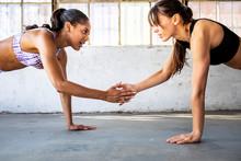 Fit Women Doing A Partner Work...