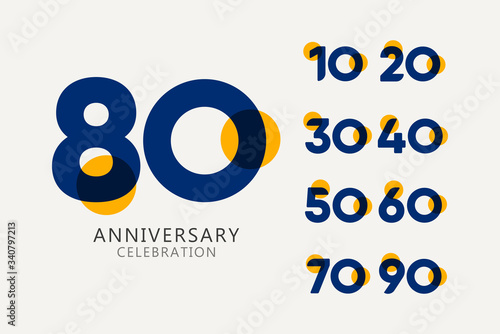 80 Years Anniversary Celebration set Logo Vector Template Design Illustration Wallpaper Mural