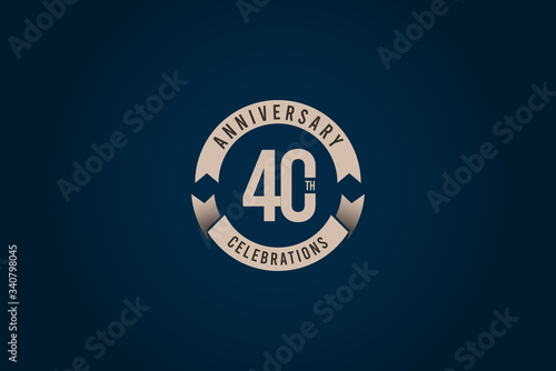 Slika na platnu 40 Years Anniversary Celebration Logo Vector Template Design Illustration