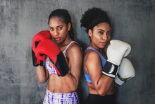 Strong And Fit Woman Boxers