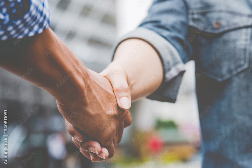 Fototapeta Trust Business Partner Teamwork and Partnership. Industry contractor fist bump dealing mission business. Mission team meeting group of People Fist bump Hands together. Business industry trust teamwork