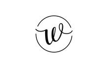 W Lowercase Letter Cursive Icon Or Logo Design, Vector Template