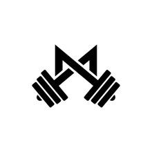 Letter M Fitness Gym Logo Design. Barbel Sports Vector Icon