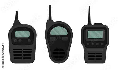 Photo Black Portable Radio Device or Walkie Talkie with Antenna Vector Set