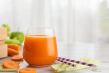 Glass With Carrot Juice And Celery. The Concept Of A Healthy Diet Or Weight Loss.