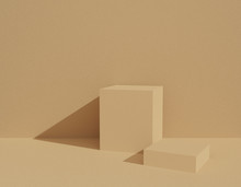 Abstract Beige Background Texture With Geometric Shape In Studio Room. 3D Rendering For Product On Website. Minimal Mockup With Cream Display Podium Scene. Empty Showcase For Advertising Banner.