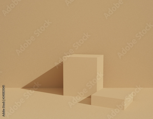 Abstract beige background texture with geometric shape in studio room Wallpaper Mural