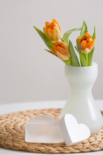 Frosted Glass Vase With Beauti...