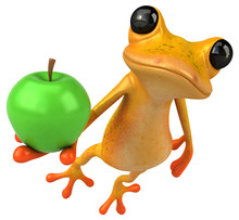 Fun Yellow Frog - 3D Illustrat...