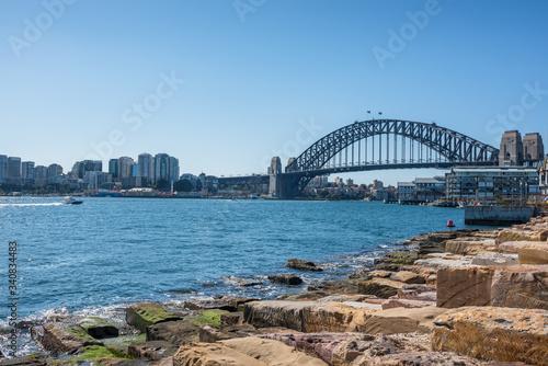 Sydney Harbour Bridge and Barangaroo Reserve in Sydney, Australia